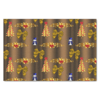 Christmas Decorations on Bronze Tissue Paper
