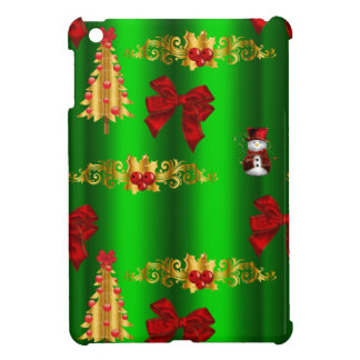 Christmas Decorations on Green iPad Mini Covers