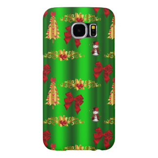 Christmas Decorations on Green Samsung Galaxy S6 Cases