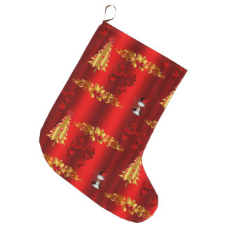 Christmas Decorations on Red Large Christmas Stocking
