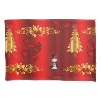 Christmas Decorations On Red Pillowcase