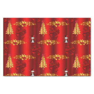 Christmas Decorations on Red Tissue Paper