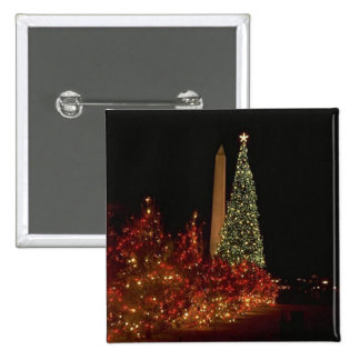 Christmas decorations on the Washington DC  Mall 2 Inch Square Button