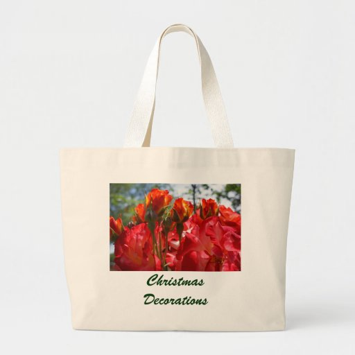 Christmas Decorations tote bags Red Roses Holidays