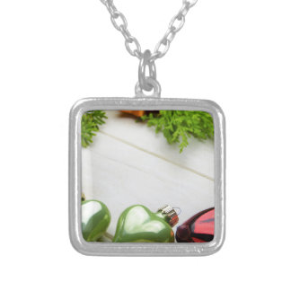 christmas decorations with a place for a name silver plated necklace