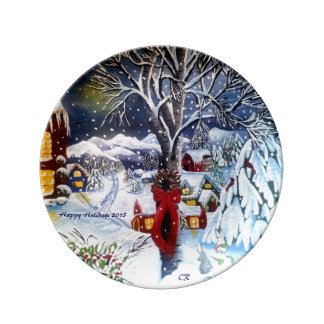 Christmas Decorator Plate Porcelain Plates