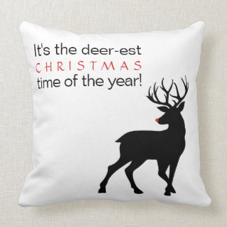 Christmas Deer-est Time of the Year Throw Pillow