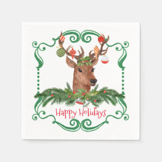 Christmas Deer Happy Holidays Frame Paper Napkin