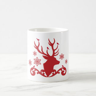 Christmas deer head with birds snowflakes coffee mug