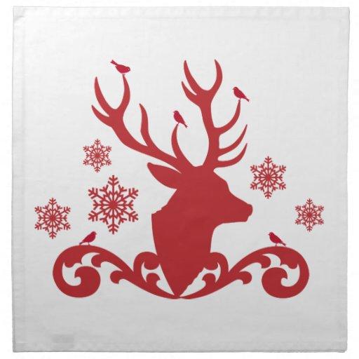 Christmas deer head with birds snowflakes cloth napkin