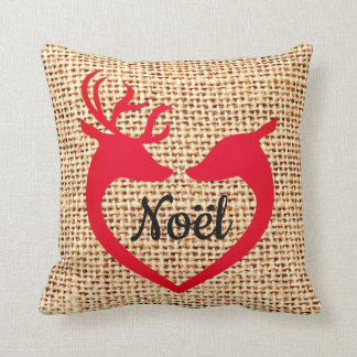 Christmas Deer Heart Burlap Jute Noel Pillow