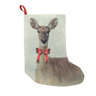 Christmas Deer Holiday Greetings Small Christmas Stocking