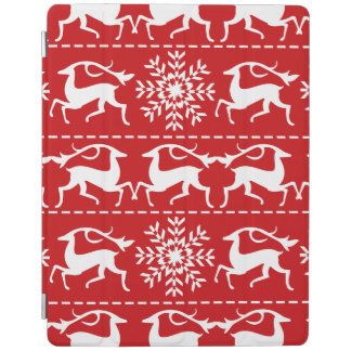 Christmas Deer Red and White Holiday Pattern iPad Cover