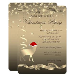 Christmas Deer Santa Hat,Diamonds ,Christmas Party Card