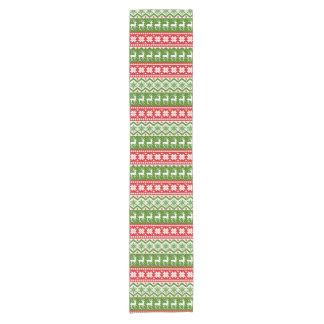 Christmas deer snowflakes red green pattern short table runner