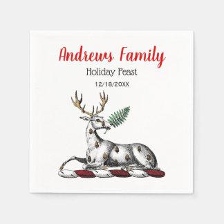 Christmas Deer Stag, Fern Heraldic Crest Emblem Disposable Napkins