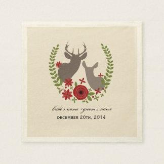 Christmas Deer Wedding Napkins Paper Napkin