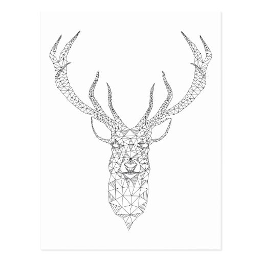 Christmas deer with abstract geometric pattern postcard
