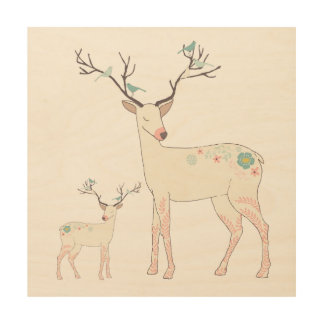 Christmas Deer With Birds & Flowers Wood Wall Decor