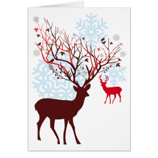 Christmas Deer with tree branch antlers Card