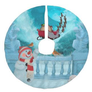 Christmas design, Santa Claus Faux Linen Tree Skirt