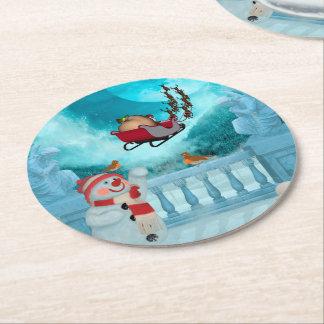 Christmas design, Santa Claus Round Paper Coaster