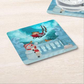 Christmas design, Santa Claus Square Paper Coaster