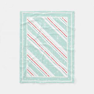 Christmas Diagonal Stripes Mint ID440 Fleece Blanket