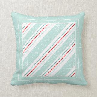 Christmas Diagonal Stripes Mint ID440 Throw Pillow