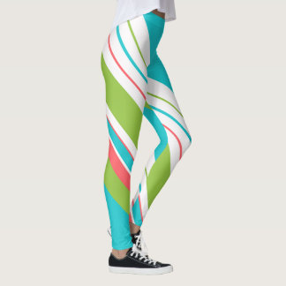 Christmas Diagonal Stripes Turquoise/Coral ID440 Leggings