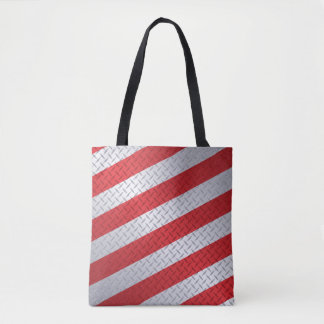 Christmas Diamondplate with Red Stripes Tote Bag