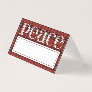 Christmas Dinner Place Card | Peace Red Plaid