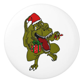 Christmas Dinosaur Door Knob