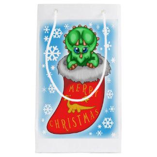 Christmas Dinosaur Small Gift Bag