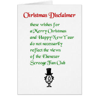 Christmas Disclaimer - a funny Christmas Poem Card