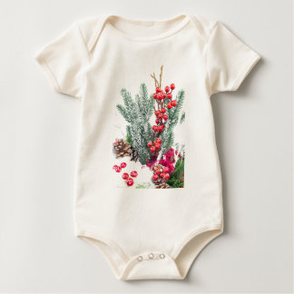 Christmas dish with berries mushrooms decoration baby bodysuit