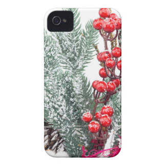 Christmas dish with berries mushrooms decoration iPhone 4 Case-Mate case