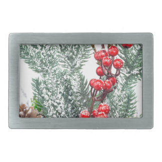 Christmas dish with berries mushrooms decoration rectangular belt buckle