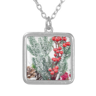 Christmas dish with berries mushrooms decoration silver plated necklace