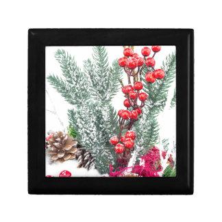 Christmas dish with berries mushrooms decoration trinket box