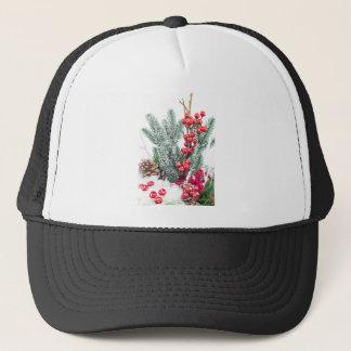 Christmas dish with berries mushrooms decoration trucker hat