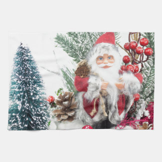 Christmas dish with santa Claus and decoration Kitchen Towel
