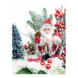 Christmas dish with santa Claus and decoration Postcard
