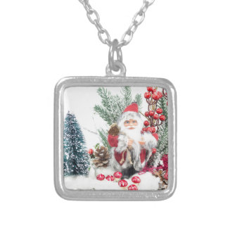 Christmas dish with santa Claus and decoration Silver Plated Necklace