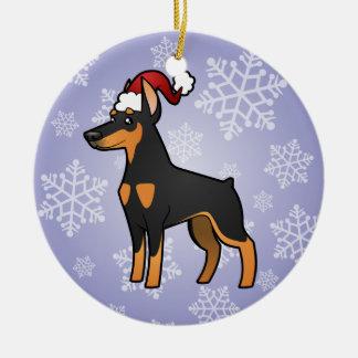 Christmas Doberman Pinscher (pointy ears) Round Ceramic Ornament