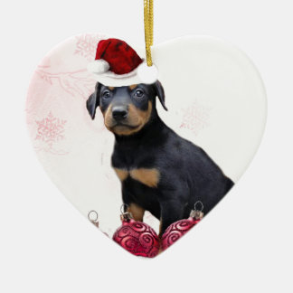 Christmas Doberman puppy Ceramic Heart Ornament
