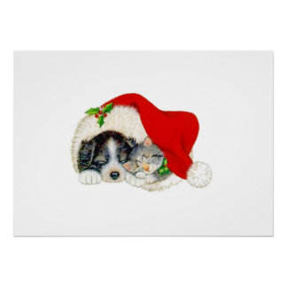 Christmas Dog and Cat Posters