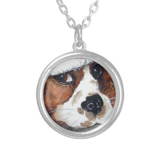 Christmas Dog Cards cocker spaniel Silver Plated Necklace