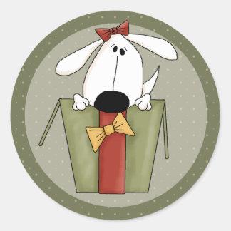 Christmas Dog Classic Round Sticker