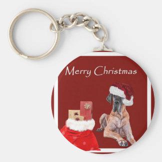 Christmas Dog Great Dane Keychain